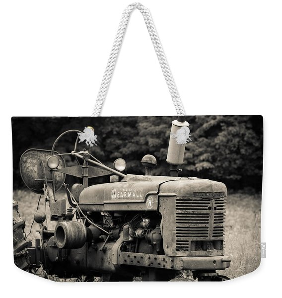 Old Tractor Black And White Square Weekender Tote Bag