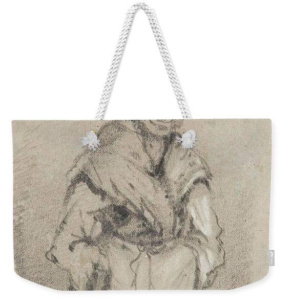 Old Woman From Normandy Full Face Pencil On Paper Weekender Tote Bag