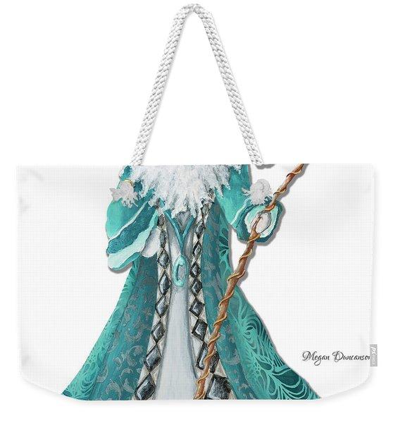 Old World Style Turquoise Aqua Teal Santa Claus Christmas Art By Megan Duncanson Weekender Tote Bag