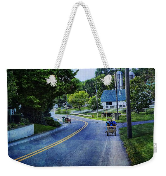 On A Country Road - Lancaster - Pennsylvania Weekender Tote Bag