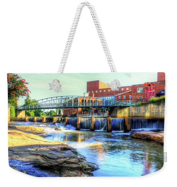 On The Reedy River In Greenville Weekender Tote Bag