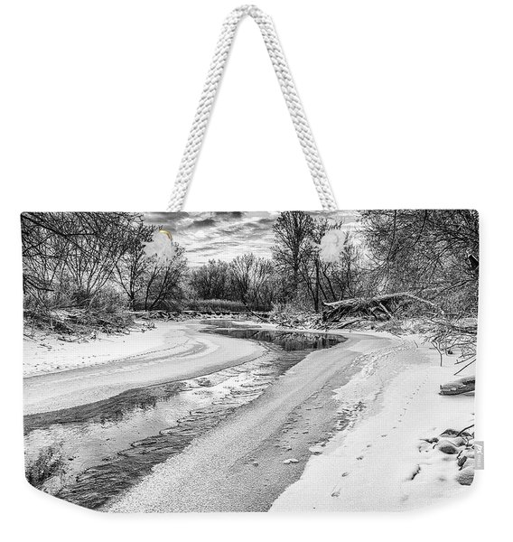 Weekender Tote Bag featuring the photograph On The Riverbank Bw by Garvin Hunter