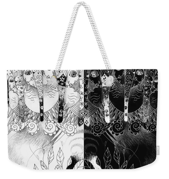 One And All - Black And White Weekender Tote Bag