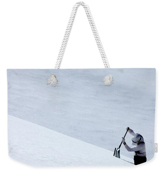 One Man Digging A Pit In The Snow Weekender Tote Bag