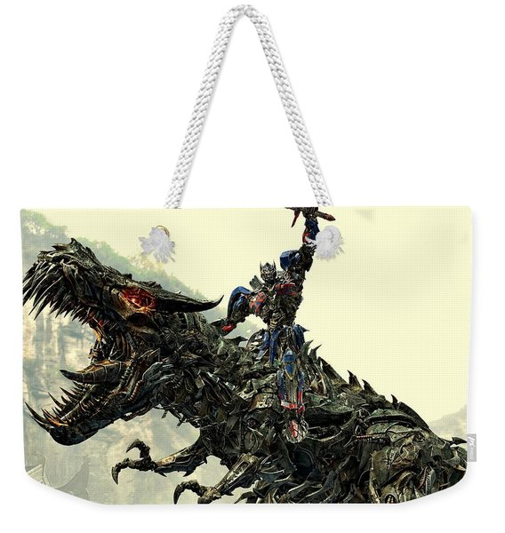 Optimus Prime Riding Grimlock Weekender Tote Bag