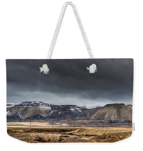 Oquirrh Mountains Winter Storm Panorama 2 - Utah Weekender Tote Bag