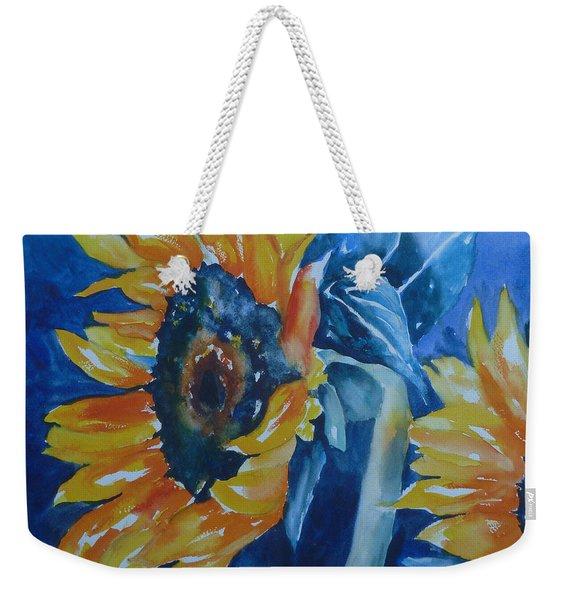 Orange And Blue Weekender Tote Bag