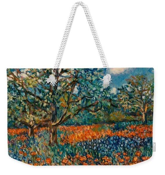 Orange And Blue Flower Field Weekender Tote Bag