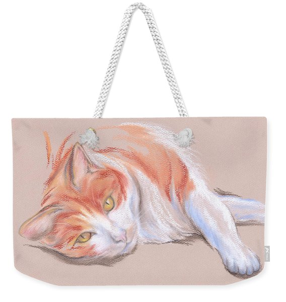 Orange And White Tabby Cat With Gold Eyes Weekender Tote Bag