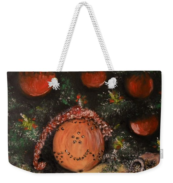 Weekender Tote Bag featuring the painting Orange Clover Christmas by Laurie Lundquist