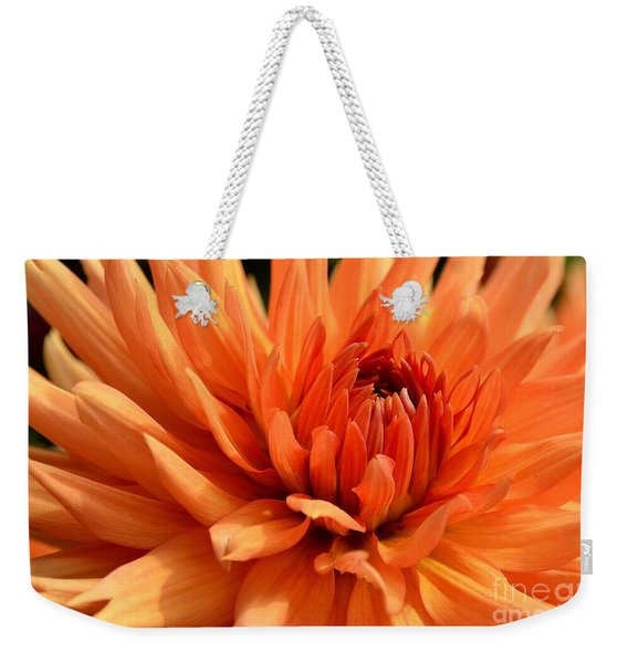 Weekender Tote Bag featuring the photograph Orange Dahlia by Scott Lyons