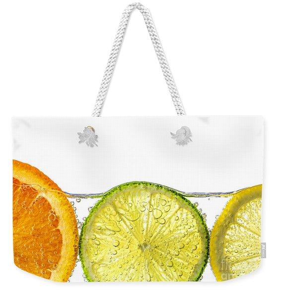 Orange Lemon And Lime Slices In Water Weekender Tote Bag