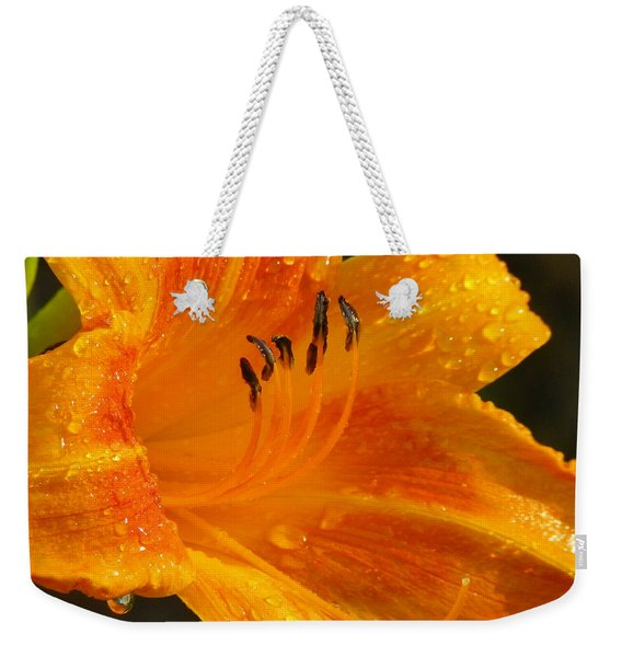 Orange Rain Weekender Tote Bag