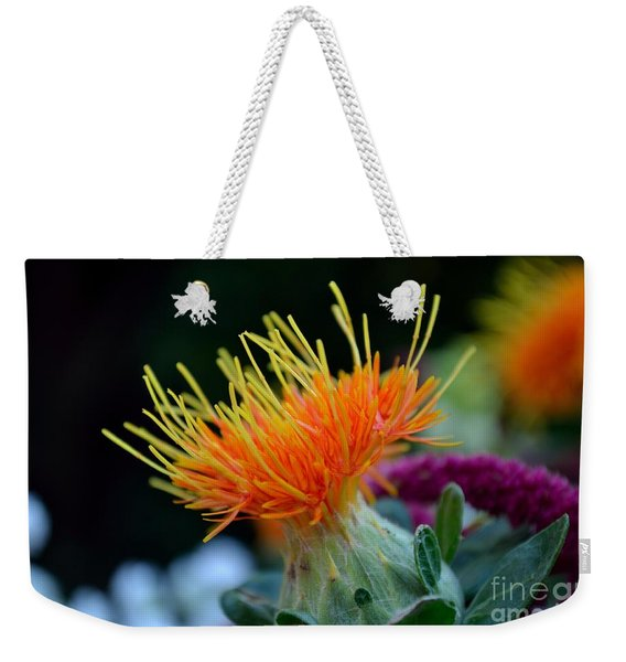 Weekender Tote Bag featuring the photograph Orange Safflower by Scott Lyons