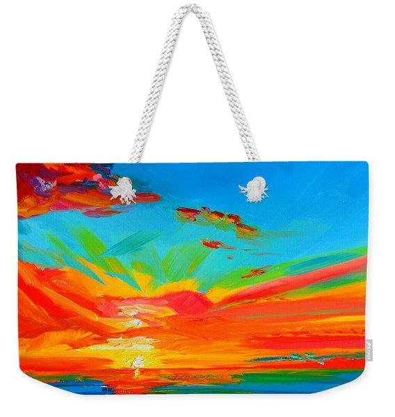 Orange Sunset Landscape Weekender Tote Bag