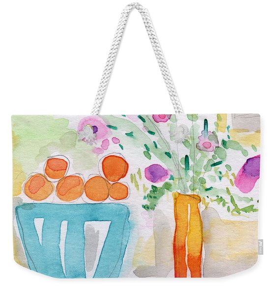 Oranges In Blue Bowl- Watercolor Painting Weekender Tote Bag
