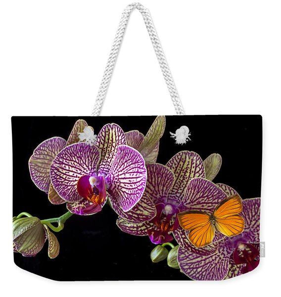 Orchid And Orange Butterfly Weekender Tote Bag