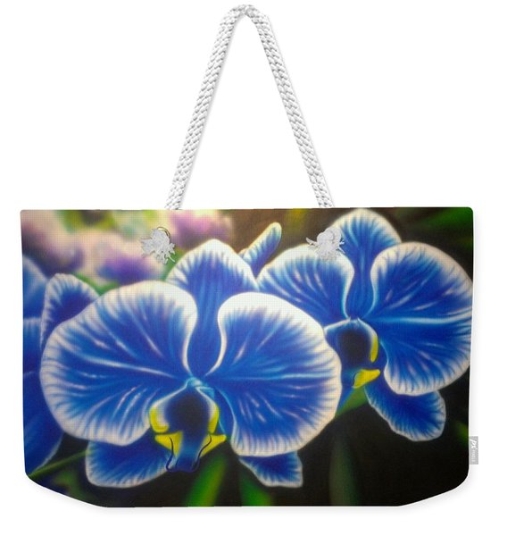 Orchid-strated Blues Weekender Tote Bag