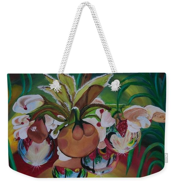 Orchids In Raindrop Reflections Weekender Tote Bag