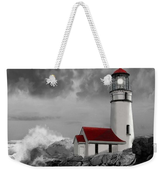 Oregon Lighthouse Cape Blanco In Black White And Red Weekender Tote Bag