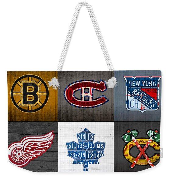 Original Six Hockey Team Retro Logo Vintage Recycled License Plate Art Weekender Tote Bag