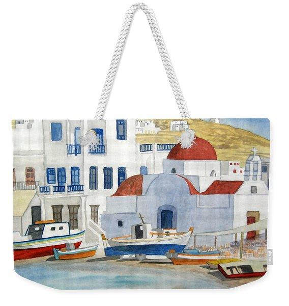 Watercolor - Mykonos Greece Detail Weekender Tote Bag
