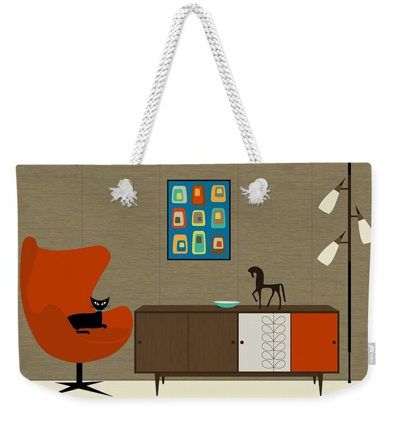 Weekender Tote Bag featuring the digital art Orla Kiely Cabinet by Donna Mibus