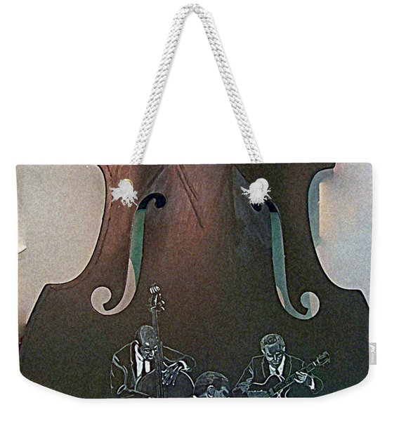 Weekender Tote Bag featuring the painting Oscar Peterson Trio by Richard Le Page