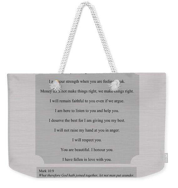 Our Promises Certificate Weekender Tote Bag