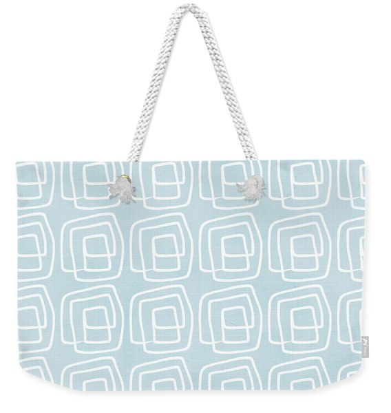 Out Of The Box Blue And White Pattern Weekender Tote Bag