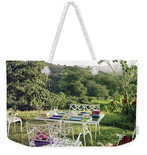 Outdoor Furniture By Lloyd On Grassy Hillside Weekender Tote Bag