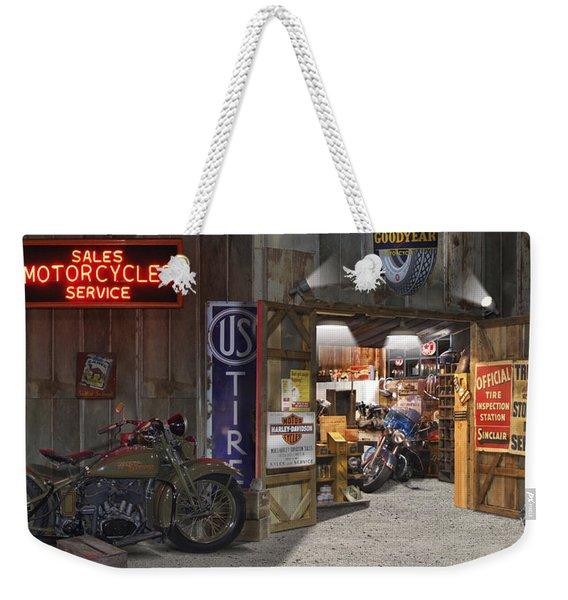 Outside The Motorcycle Shop Weekender Tote Bag