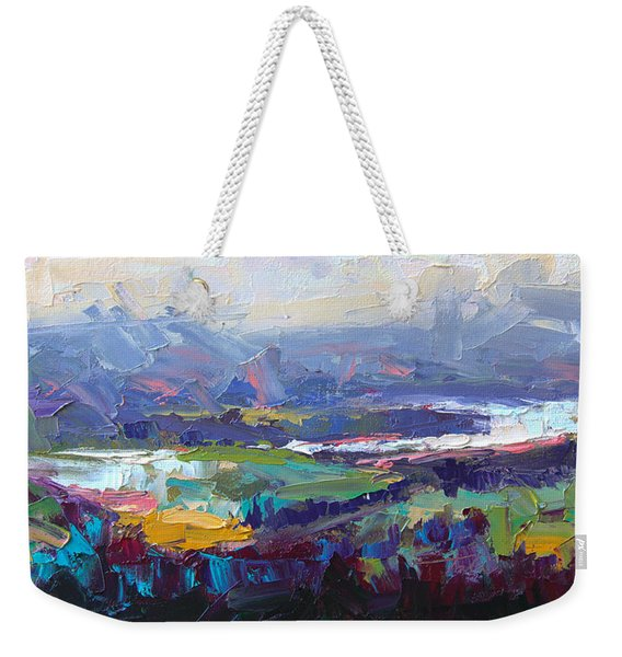 Weekender Tote Bag featuring the painting Overlook Abstract Landscape by Talya Johnson