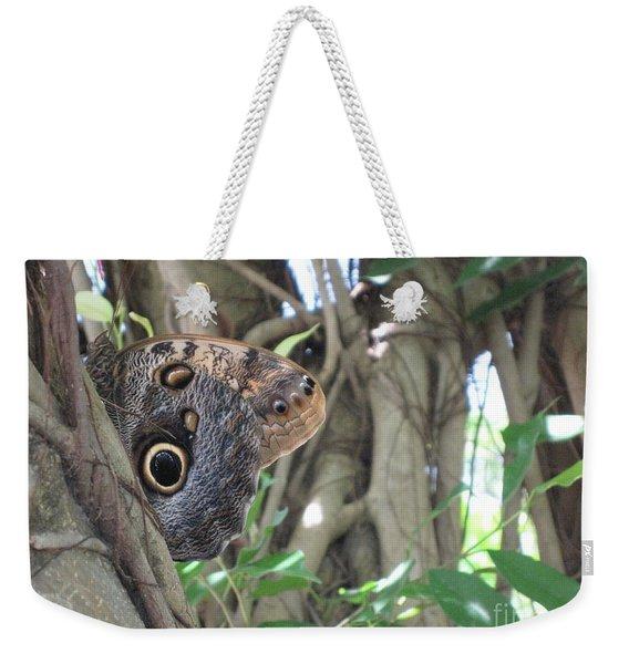 Owl Butterfly In Hiding Weekender Tote Bag