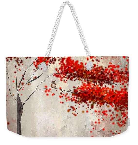 Owl In Autumn Weekender Tote Bag