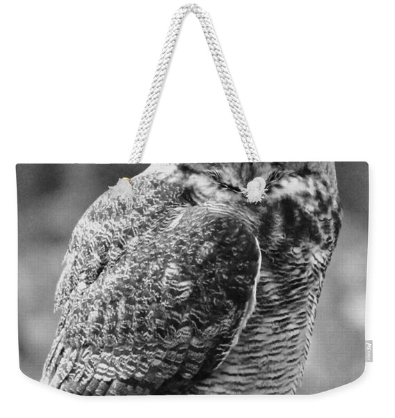 Owl In Black And White Weekender Tote Bag