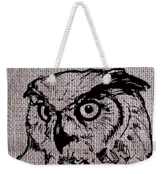 Owl On Burlap Weekender Tote Bag