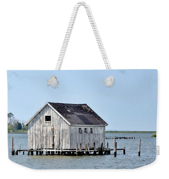 Weekender Tote Bag featuring the photograph Oyster Shucking Shed by Kim Bemis