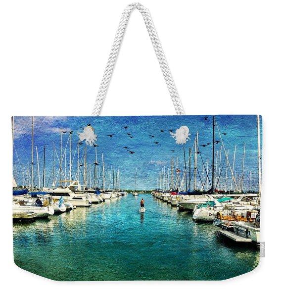 Paddle Boarder  In The Harbor Weekender Tote Bag