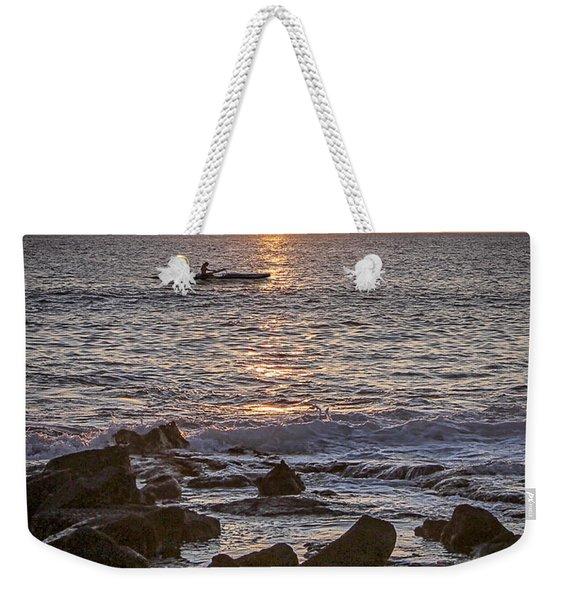 Paddlers At Sunset Portrait Weekender Tote Bag