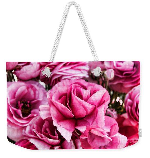 Paint Me Pink Ranunculus Flowers By Diana Sainz Weekender Tote Bag