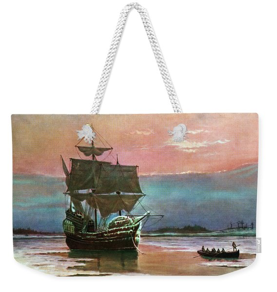 Painting Of The Ship The Mayflower 1620 Weekender Tote Bag