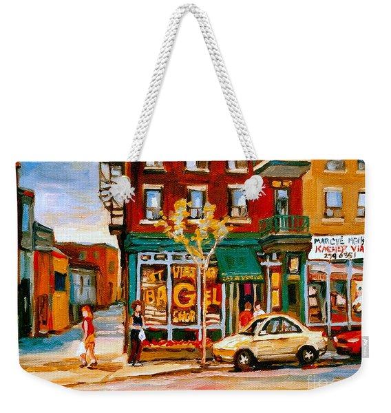 Paintings Of  Famous Montreal Places St. Viateur Bagel City Scene Weekender Tote Bag