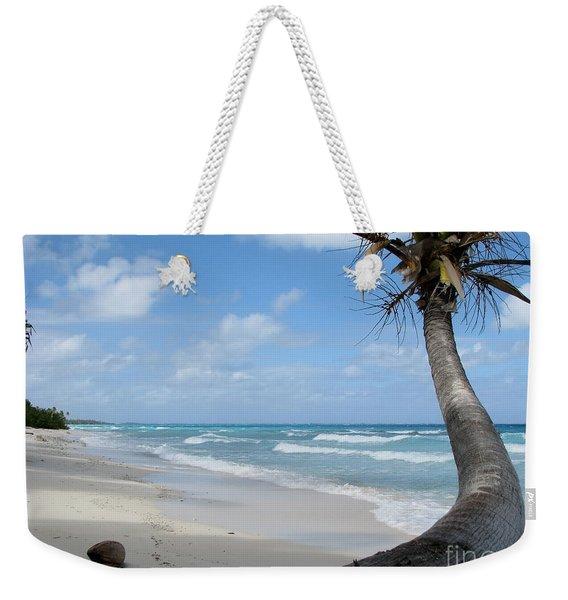 Palm Tree On The Beach Weekender Tote Bag