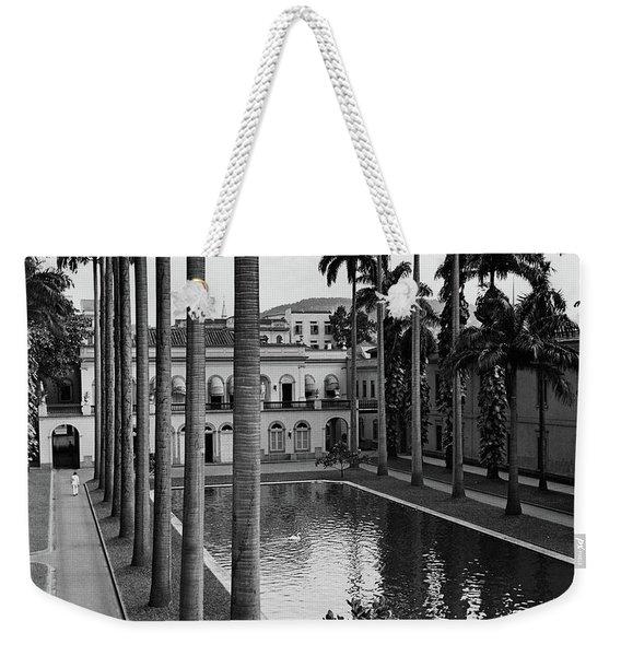 Palm Trees Bordering A Pool Weekender Tote Bag