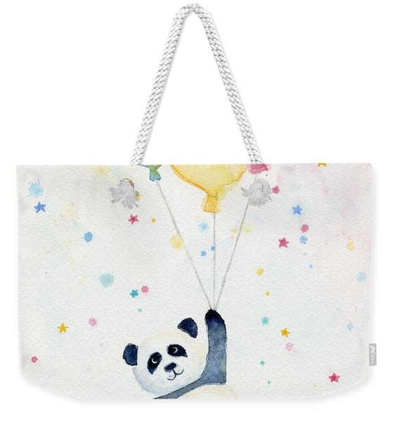 Panda Floating With Balloons Weekender Tote Bag