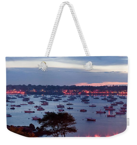 Weekender Tote Bag featuring the photograph Panoramic Of The Marblehead Illumination by Jeff Folger