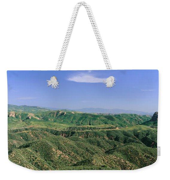 Panoramic View Of Green Rolling Hills Weekender Tote Bag