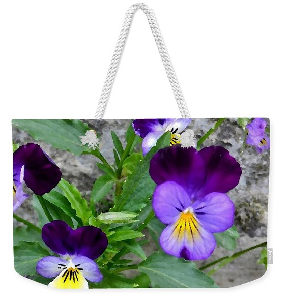 Weekender Tote Bag featuring the photograph Pansies - Painterly by Kim Bemis
