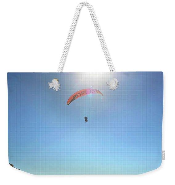 Paragliding Descending Towards Kas Sight Weekender Tote Bag